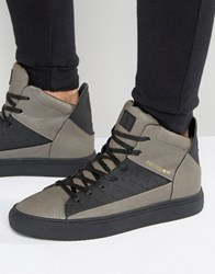Religion League Snakeskin Hi Top Trainers Grey