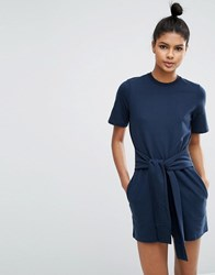Asos Lounge Sweat Playsuit With Tie Navy
