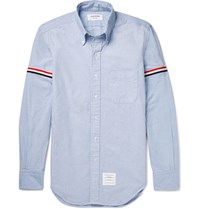 Thom Browne Slim Fit Grosgrain Trimmed Cotton Oxford Shirt Blue