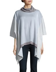 Ivanka Trump Colorblocked Knit Poncho Heather Frost