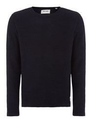Only And Sons Textured Crew Neck Pull Over Jumpers Navy