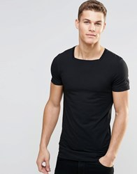 Asos Longline Muscle T Shirt With Square Neck In Black Black