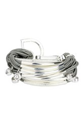 Saachi Grey Silver Multi Bar Crystal String Bracelet Gray