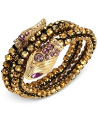 Betsey Johnson Gold Tone Rhinestone And Crystal Snake Coil Bracelet