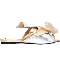 No 21 Bow Leather Slippers Silver Com
