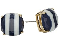 Kate Spade Earrings Striped Small Square Studs Navy Earring
