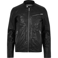 Jack And Jones River Island Mens Black Premium Leather Jacket