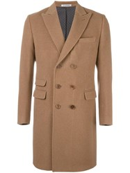 Daniele Alessandrini Double Breasted Coat Brown