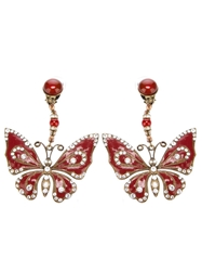 Katheleys Vintage Enameled Butterfly Earrings Red