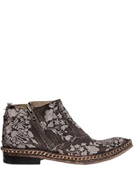 We Are...The Original Embroidered Linen Canvas Ankle Boots