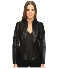 Zac Posen Veronica Leather Jacket Ebony Women's Coat Black