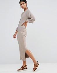 Warehouse Ribbed Side Split Skirt Neutral Twist Beige