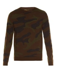 Valentino Crew Neck Camouflage Knit Wool Sweater Green Multi