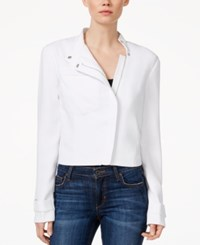 Rachel Rachel Roy Long Sleeve Front Zip Moto Jacket White