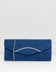 Lotus Clutch Bag With Silver Detail Navy Microfibre Blue