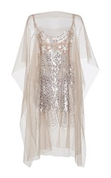 N 21 No. Lamina Sequin Embellished Poncho White Pink Silver
