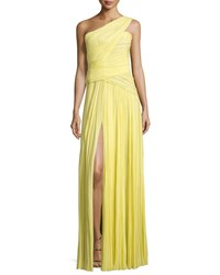 J. Mendel One Shoulder Plisse Gown Yellow Cab Women's Size 6