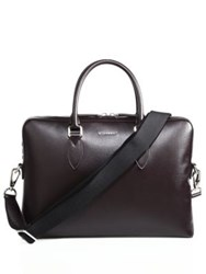 Burberry Grained Leather Briefcase Wine