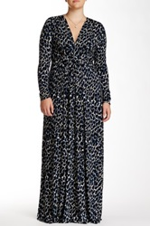 White Label By Rachel Pally Print Long Sleeve Kaftan Maxi Dress Plus Size Blue