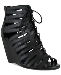 Mia Issy Lace Up Wedge Sandals Women's Shoes Black