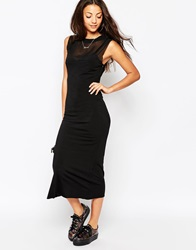 Bitching And Junkfood Delivery Sleeveless Midi Bodycon Dress Black
