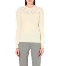 Philosophy Lace Constrast Wool Jumper Ivory