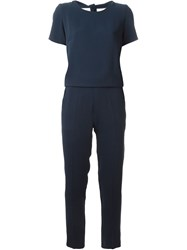 P.A.R.O.S.H. Short Sleeve Fitted Jumpsuit Blue