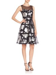 Kay Unger Fit And Flare Silk Dress Black Multi