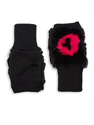 Jocelyn Kiss Me Fingerless Fur Mittens Lips