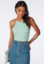 Missguided Halterneck Crop Top Mint