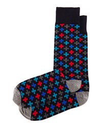 Multicolored Cross Print Socks Navy Red Multi Navy Red Multi Jonathan Adler