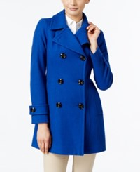Anne Klein Petite Double Breasted Long Peacoat Cobalt