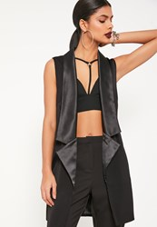 Missguided Black Tall Sleeveless Longline Tux Blazer