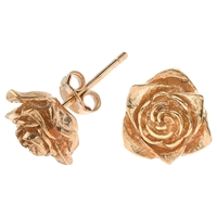 Dower And Hall 18Ct Rose Gold Vermeil Large Rosebud Stud Earrings Rose Gold