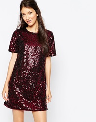 Motel Sallymae Dress In Sequins Burgundy