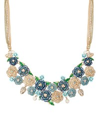 Betsey Johnson Skulls And Roses Multi Flower Bib Necklace Blue