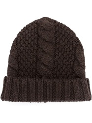 Umit Benan Cable Knit Beanie Brown
