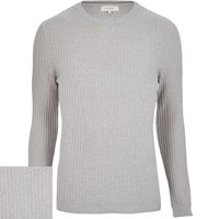 River Island Mens Light Grey Ribbed Jumper