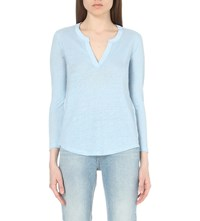 Sandro Ting Sheer Panel T Shirt Bleu Ciel