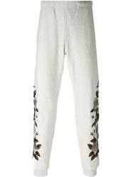Alexander Mcqueen Floral Embroidered Track Pants Grey