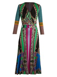 Etro Stripe And Paisley Print Silk Jersey Dress Blue Multi