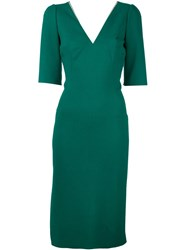 Dolce And Gabbana V Neck Fitted Dress Green