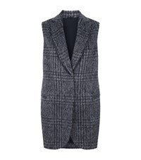 Brunello Cucinelli Check Wool Alpaca Gilet Female Blue