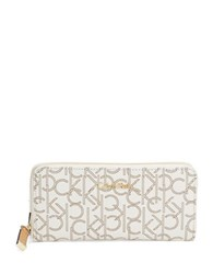 Calvin Klein Monogrammed Zip Around Wallet Almond Khaki Camel