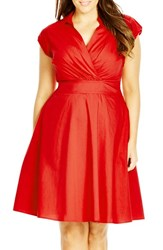 Plus Size Women's City Chic 'Retro Chic' Fit And Flare Dress Fire