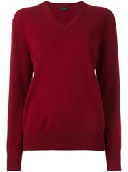 Joseph V Neck Jumper Red