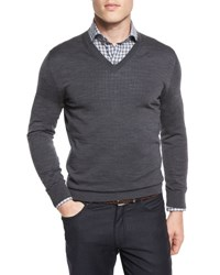 Ermenegildo Zegna High Performance Merino Wool V Neck Sweater Gray