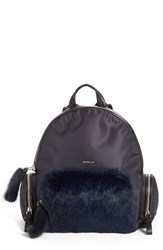 Moncler 'Florine' Genuine Rabbit Fur Trim Backpack Blue Navy