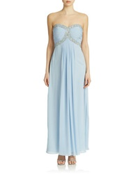 Xscape Evenings Beaded Gown With Back Bow Blue Fruit