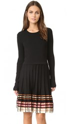 Red Valentino Pleated Dress Black Multi